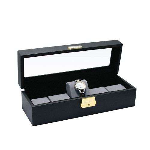 """Glass top View, Black Leather / Grey Velvet 5-Pillow Wooden Watch Box, 11 5/8"""" x 4"""" x 3 1/4""""H"""