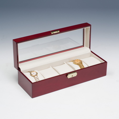 """Glass top View, Rosewood /Beige Leather 5-Pillow Watch Case, 11 7/8"""" x 4"""" x 3 1/4""""H"""