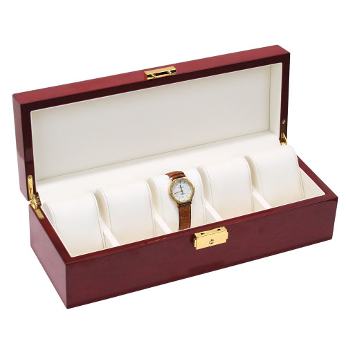 "Rosewood /Beige Leather 5-Pillow Watch Case, 11 7/8"" x 4"" x 3 1/4""H"