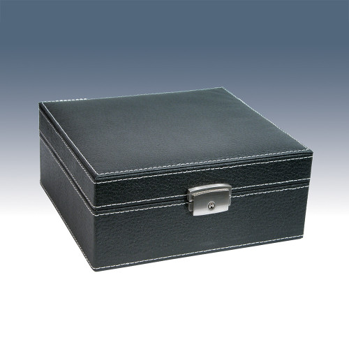 """6-Watch Wooden Box, Texture Faux Leather , 7"""" x 6 5/8"""" x 3 1/8""""H"""