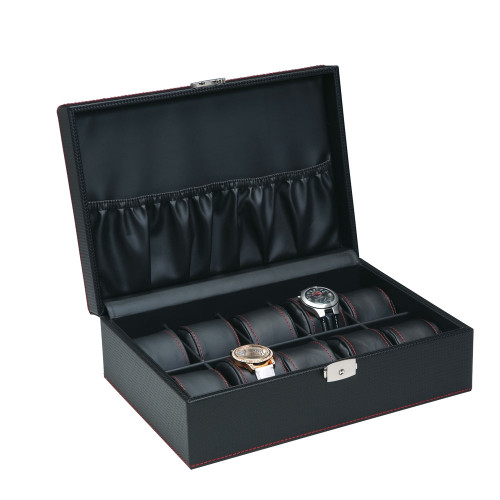 """10-Watches , Simulated Carbon fiber Pattern/Black Leather inside Wooden Case, 11 5/8"""" x 8"""" x 3 1/4""""H"""