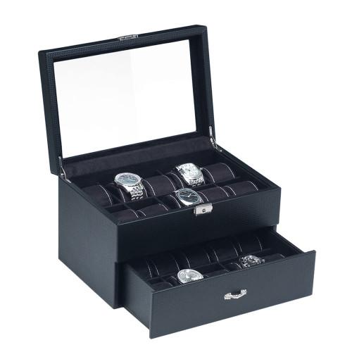 "Glass View , 20-Watches Box, Simulated Carbon Fiber Pattern case/ Black Velvet Pillows , 11"" x 8"" x 7 1/4""H"