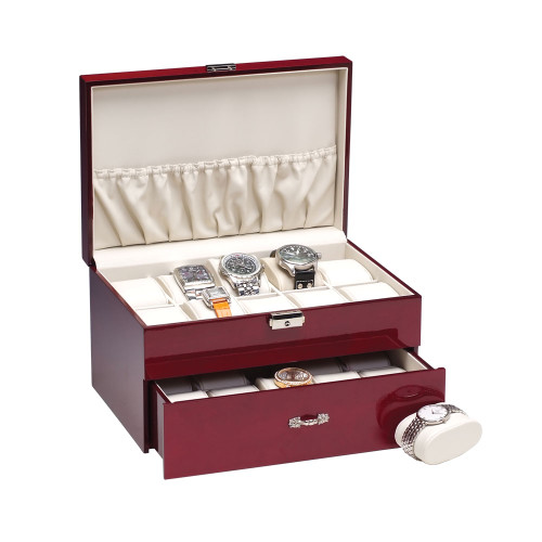 """20-Watches Rosewood/Beige Faux Leather Watches Case, 11 5/8"""" x 8"""" x 6 1/2""""H"""