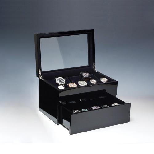 "Glass View, High Gloss Black Wood/ 20-Black Velvet Pillow Case, 12"" x 8 1/8""x 7 5/8""H"
