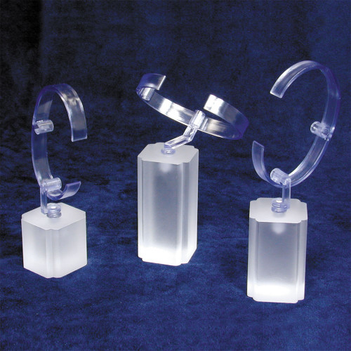 "Frosted Acrylic Display 3-pieces Set, 1 3/8"" x 1 3/8"" x 5"" , 5 3/4"" x 6 1/4""H"