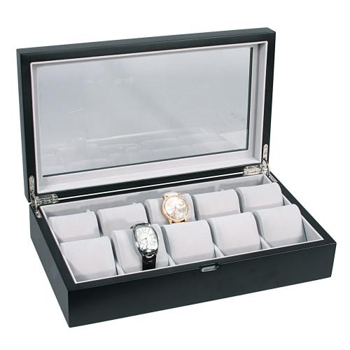 "Glass Top, Matte Black Wooden/ Grey Velvet 10-Watch Case, 14 1/8"" x 8 1/4"" x 3 3/8""H"
