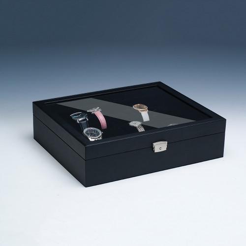 "Glass View, 18-Watches Black Leather/Black Velvet Pillow Case, 14 1/4"" x 12"" x 3 3/4""H"