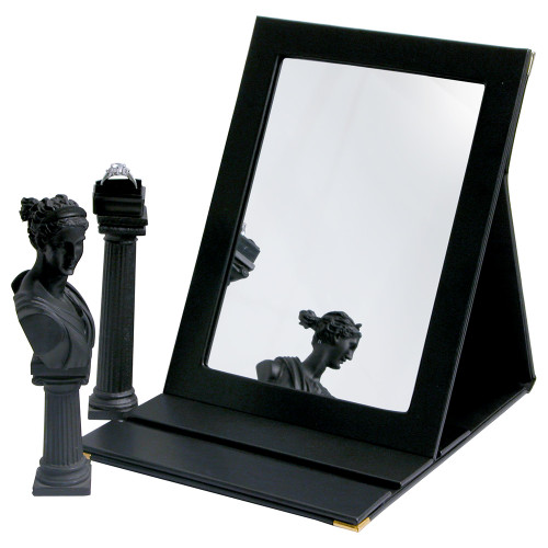 "Folding Glass Mirror, (Magnetic Closure), 7 1/4"" x 10""H, Black Faux Leather"