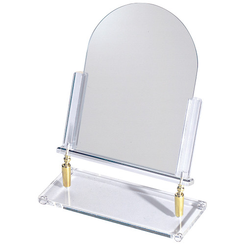 "Brass Hinge Glass Mirror, 12"" x 16""H"