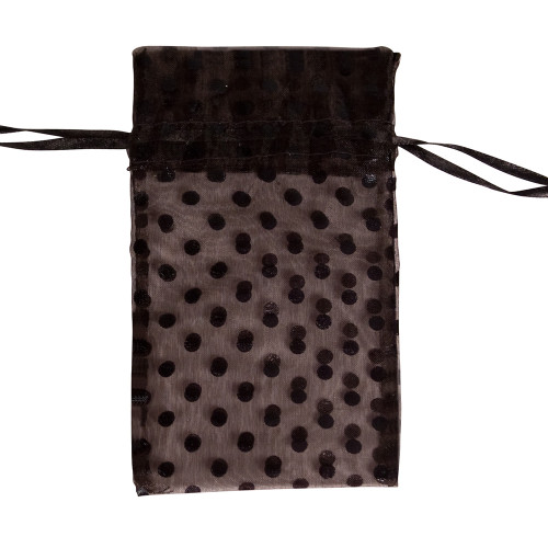 "4"" x 5"",Black Polka Dot Drawstring Pouch, price for Dozen,Buy More Save More"