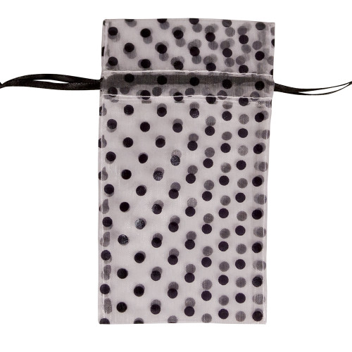 "4"" x 5"", White-Black Polka Dot Drawstring Pouch, price for Dozen,Buy More Save More"