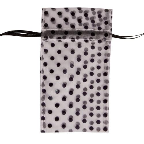 "6"" x 8"", White-Black Polka Dot Drawstring Pouch, price for Dozen,Buy More Save More"