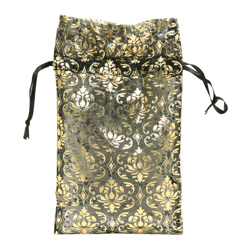 "4"" x 5"",Black-Golod Damask Drawstring Pouch,price for Dozen,Buy More Save More"