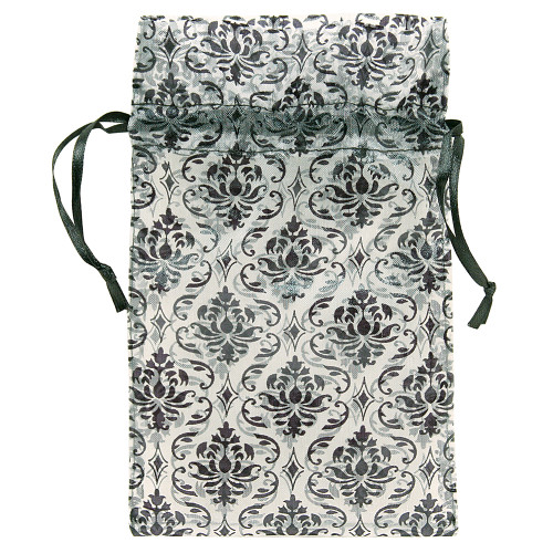 "4"" x 5"",White-Black Damask Drawstring Pouch, price for Dozen,Buy More Save More"