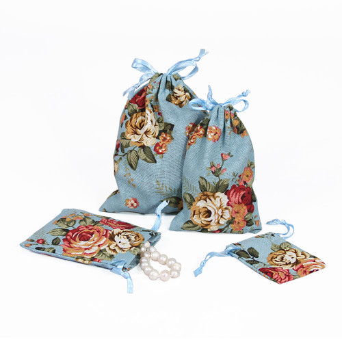 "4"" x 5"",Blue Floral Fabric Drawstring Pouch, price for Dozen,Buy More Save More"