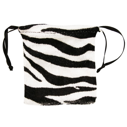"4"" x 5"",Furry Zebra Drawstring Pouch, price for Dozen,Buy More Save More"