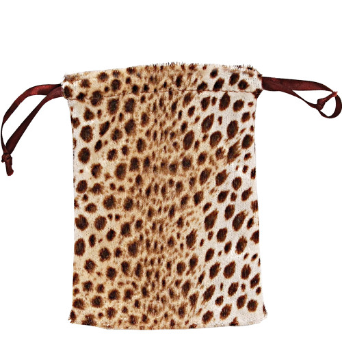 "4"" x 5"",Furry Leopard Drawstring Pouch, price for Dozen,Buy More Save More"