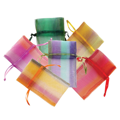 "5"" x 6"",Assorted Plaid Organza Drawstring Pouch, Mix 6 Color,price for Dozen,Buy More Save More"