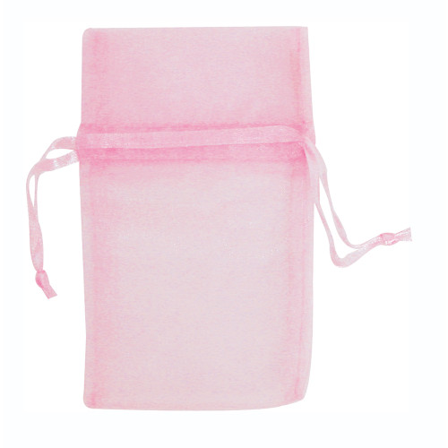 "6"" x 8"", Light Pink Organza Drawstring Pouches, price for Dozen,Buy More Save More"