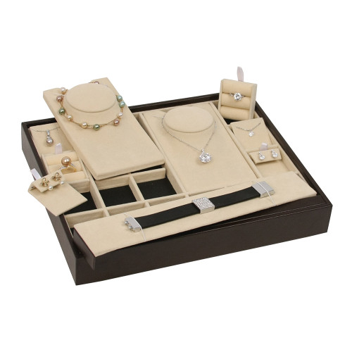 Multi-Function Stackable Trays, Beige Suede- Dark Brown Faux Leather
