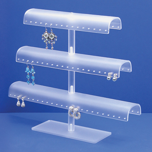 "Acrylic 60-Pr. Earring / Bangle Display, 13 1/8"" x 3 1/8"" x 11 3/8""H, White Frost,ssemble Required"
