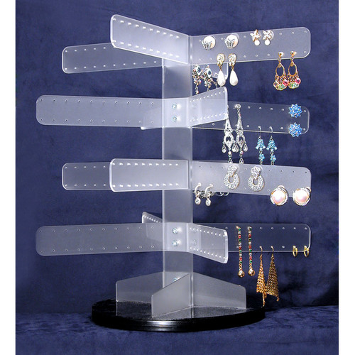 "Acrylic Turning Earring Rack (160 pr). 13 1/2"" X 13 1/2""H,Assemble Required"