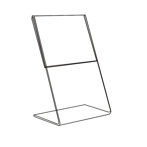 "Acrylic Sign Holder,1 Side Slant Back, 5"" x 7"""