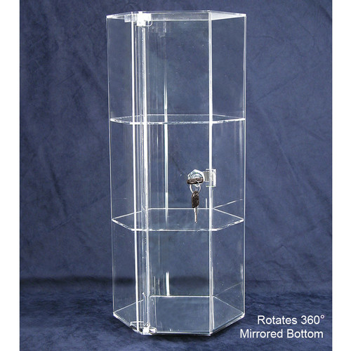 "Rotating Hexagon Acrylic Showcase (2 shelves), 8 1/4"" Dia x 18 7/8""H"