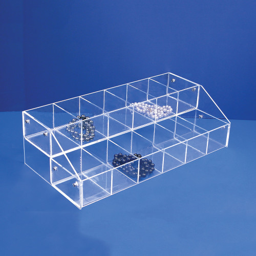 "Acrylic Multi-Tier Bin Organizer, 16"" x 8"" x 4 5/8""H,Assemble Requiresd"