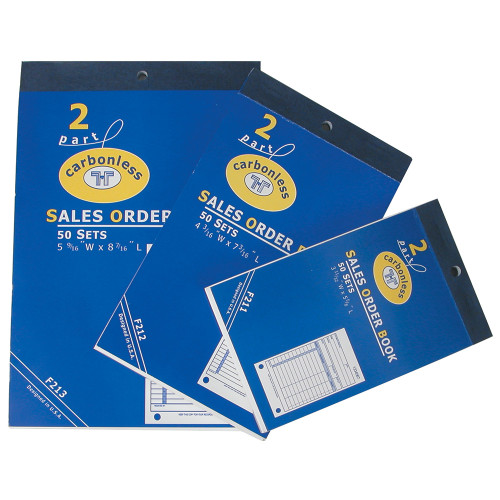 "Sales Order Books, 50 sets 2-Part Carbonless, White-Yellow, 4 3/16"" x 7 3/16"""