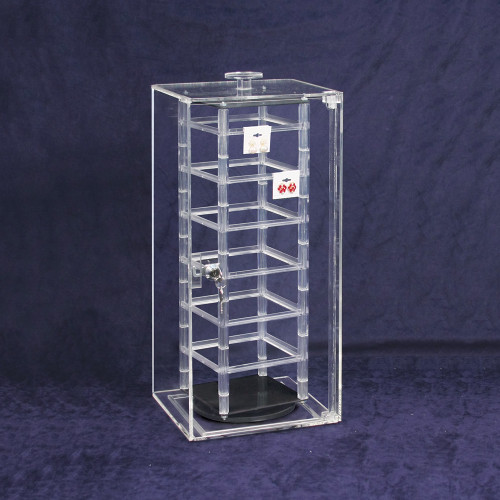 "Acrylic Revolving Earring Display Case , Holds 48 pcs. 2"" Cards, 8 1/4"" x 5 1/8"" x 18 1/2""H"