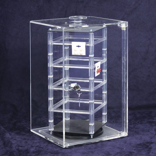 "Acrylic Revolving Earring Display Case , Holds 32 pcs. 2"" Cards, 8 1/4"" x 5 1/8"" x 13 3/4""H"