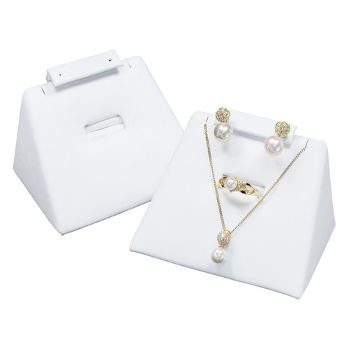"Combo Display -White Leather, 3.75"" x 2.5"" x 2""H"