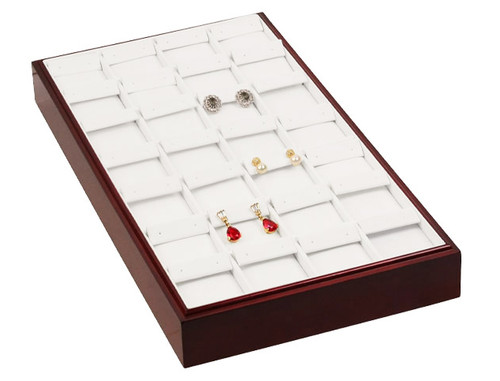 "Stackable 28-Pairs Earring Tray - Rosewood with White Leather,18"" x 9 1/2"" x 1 7/8""H"