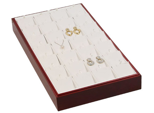 "Stackable 28 Pendant/Earring Tray - Rosewood with White Leather,18"" x 9 1/2"" x 1 7/8""H"