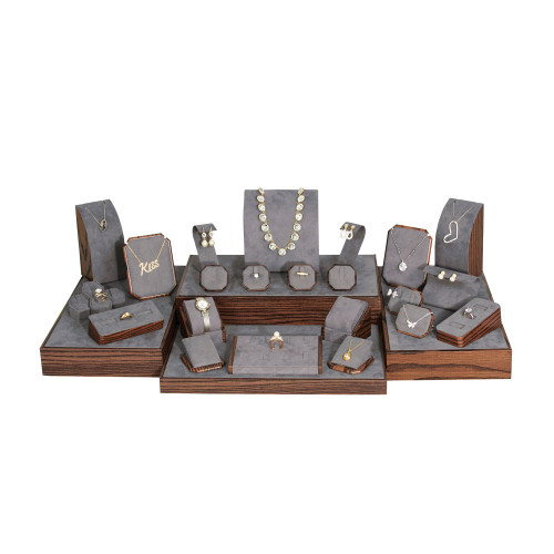 Wood Grain Finish 29-Piece Jewelry Display Set (SET78-D30)