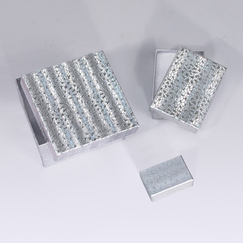 Silver Cotton Filled Boxes (Choose from various sizes), price for 100 pcs