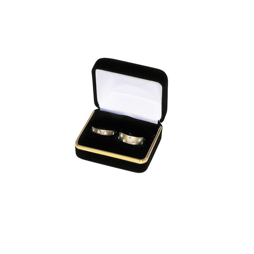 "Velvet Double Ring Box with Gold Trim, 2 3/8"" x 2"" x 1 1/2"",(Choose from various Color)"