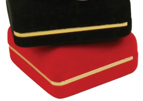 """Velvet Ring Box with Gold Trim, 1 7/8"""" x 2 1/8"""" x 1 1/2"""",(Choose from various Color)"""