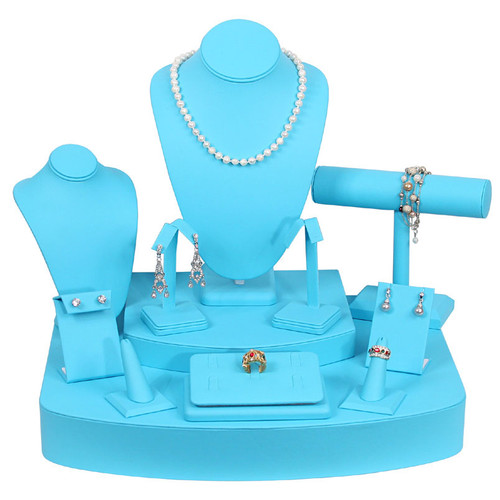 12-Pieces Turquoise Faux Leather Display Set