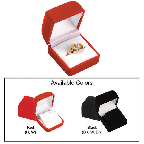 "Ring Box,Flocked Velour Value, 1 3/4"" x 1 7/8"" x 1 1/2"", Choose from various Color"