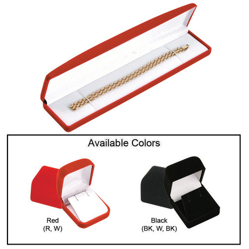 """Soft Flocked Velour Bracelet/Watch Box, 8 1/2"""" x 2"""" x 1"""", Choose from various Color"""