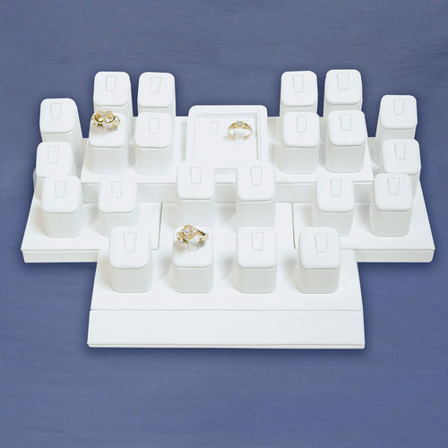 24-Ring White Faux Leather Display