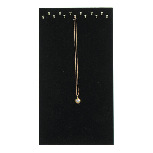 Black Velvet 13-Hook Necklace Display with Easel