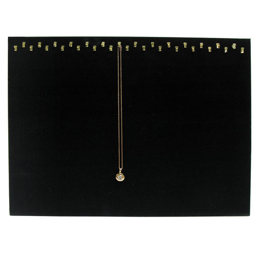 Black Velvet 29-Hook Necklace Display with Easel