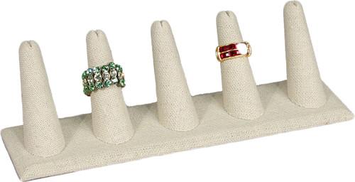"5-Finger Beige Linen Ring Display,8"" x 2 1/8"" x 2 1/2"" H"