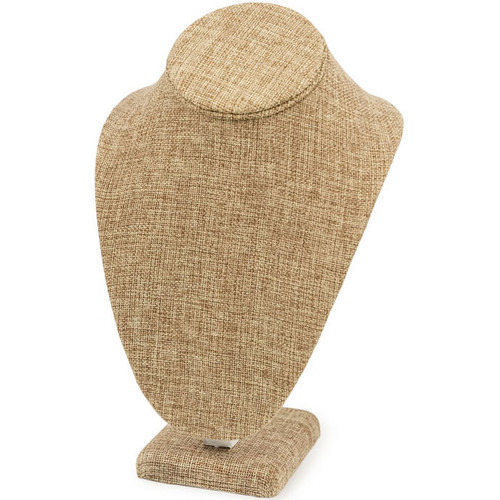 """7 1/2"""" Burlap Necklace Bust Jewelry Display"""