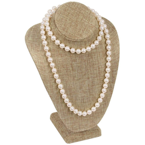 """11"""" Burlap Necklace Bust Jewelry Display"""