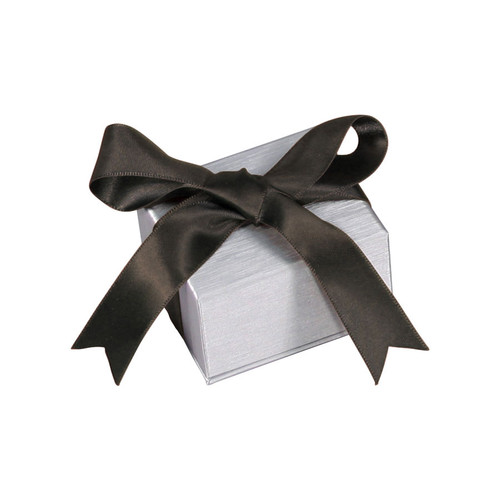 Steel Grey Earring Box with Ribbon