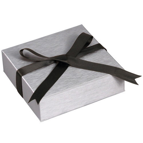 Steel Grey Necklace Box with Ribbon